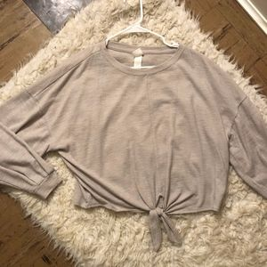 H&M Knotted Blouse with Cuffed Sleeves